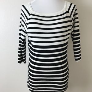 Chicos Striped 3/4 Sleeve Knit Sweater